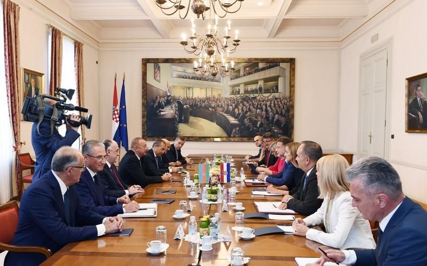 İlham Əliyev Xorvatiya parlamentinin sədri Qordan Yandrokoviç ilə görüşüb