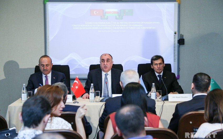 Unveiled a text of joint statement on outcomes of fourth trilateral meeting of Azerbaijani, Turkish and Turkmen FMs