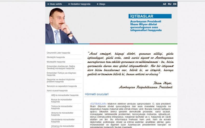 """""""İlham Əliyevdən """"İqtibaslar"""" kitabı elektron versiyada təqdim olunub"""
