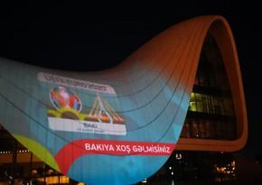 Heydər Əliyev Mərkəzi üzərində AVRO-2020 iştirakçılarınin görüntüləri nümayiş etdirilib