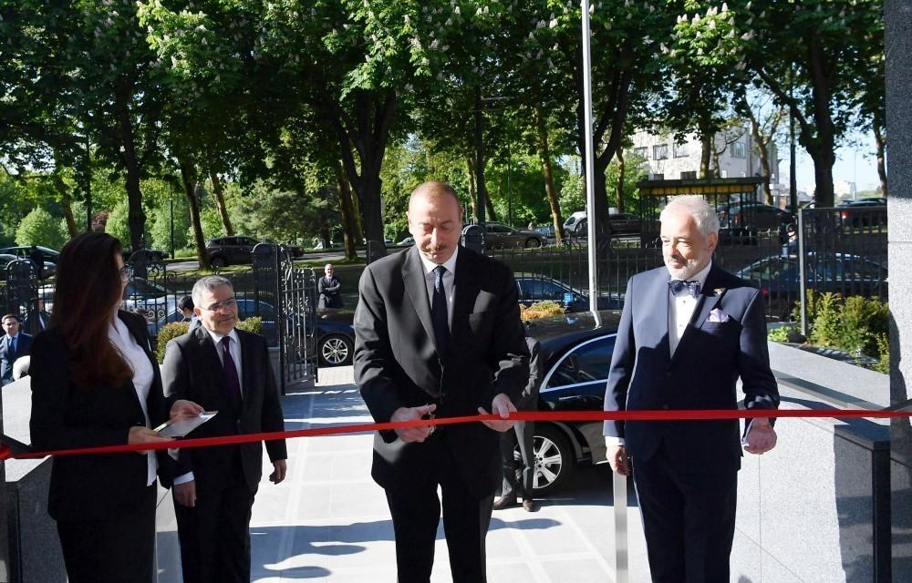 President Ilham Aliyev attends inauguration of new building of Azerbaijan's Embassy in Belgium