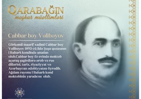Qarabağın məşhur müəllimləri - Cabbar bəy Vəlibəyov