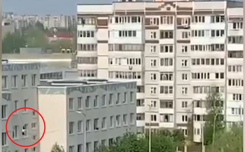 Kazandakı atışmada şagirdlər məktəbin pəncərələrindən tullanıblar - VİDEO