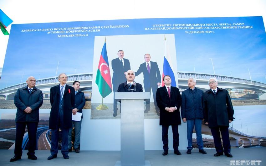 Вице-премьер: Мост через реку Самур открывает больше возможностей для реализации международных проектов
