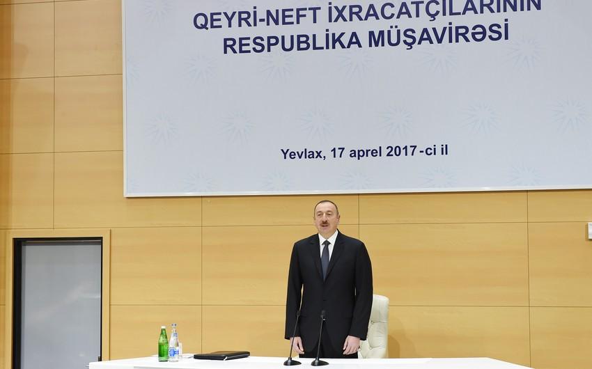 Под председательством президента Ильхама Алиева в Евлахе проходит республиканское совещание ненефтяных экспортеров