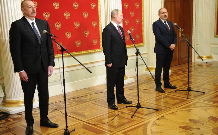 Azerbaijani, Armenian and Russian leaders sign statement