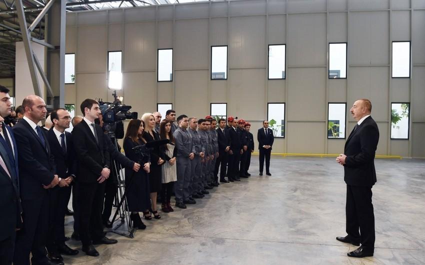 Prezident Sumqayıt Kimya Sənaye Parkında tütün məmulatları istehsalı fabrikinin açılışında iştirak edib