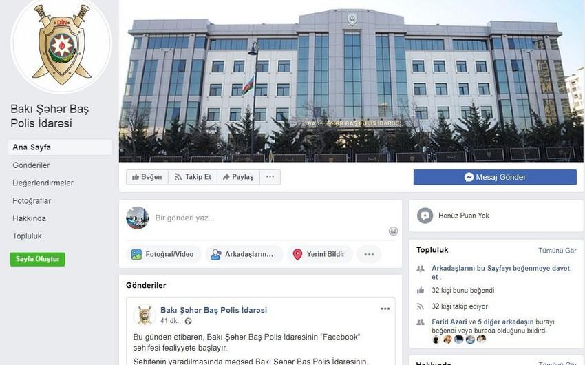 Bakı Şəhər Baş Polis İdarəsinin Facebook səhifəsi fəaliyyətə başlayıb