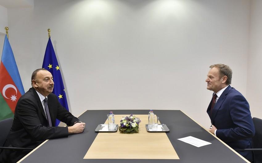 Prezident İlham Əliyev Avropa İttifaqı Şurasının prezidenti Donald Tusk ilə görüşüb - YENİLƏNİB