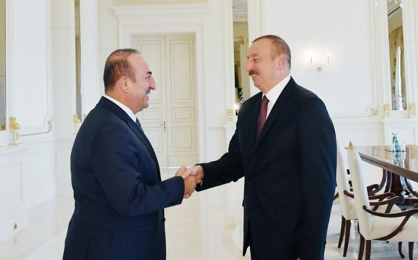 President Ilham Aliyev receives Turkish foreign minister