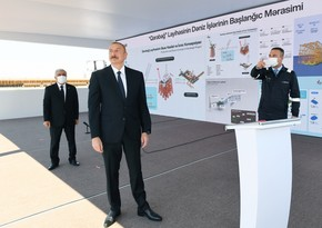 President attends launching support block of Karabakh field to sea