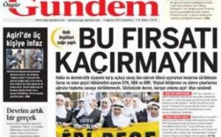 PKK terror qruplaşmasının qəzeti bağlanılıb