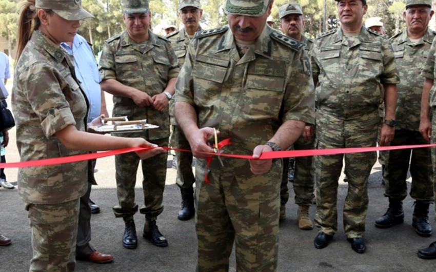Zakir Hasanov attends opening of new facilities constructed in the military camp