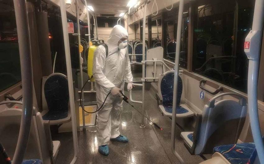 """Bakubus"" avtobusları dezinfeksiya edilir - FOTO - VİDEO - YENİLƏNİB"