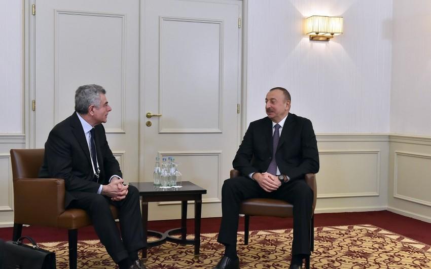"""Azərbaycan Prezidenti Münxendə """"Leonardo"""" şirkətinin baş icraçı direktoru ilə görüşüb"""
