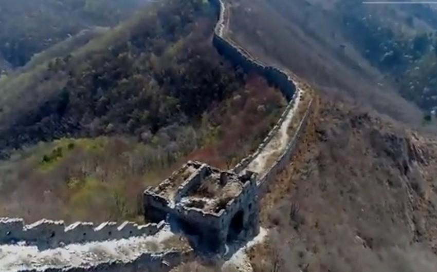 Böyük Çin səddinin baxımsız qalmış hissəsi dronla çəkilib - VİDEO