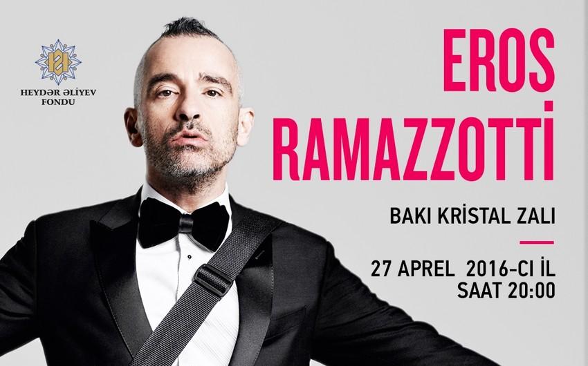 Eros Ramazzotti aprelin 27-də Bakıda konsert proqramı ilə çıxış edəcək