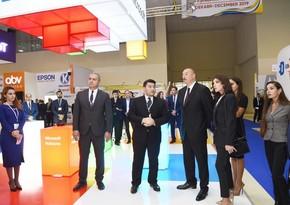 Президент Азербайджана Ильхам Алиев ознакомился с выставкой Bakutel-2018