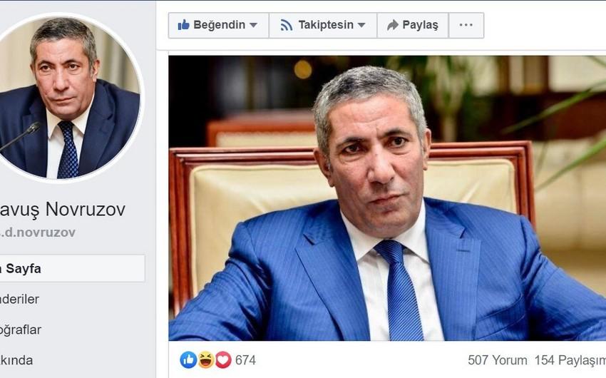 """Siyavuş Novruzov """"Facebook""""da səhifə açıb: """"Fikirlərimi daha çox sosial şəbəkədə açıqlayacam"""""""