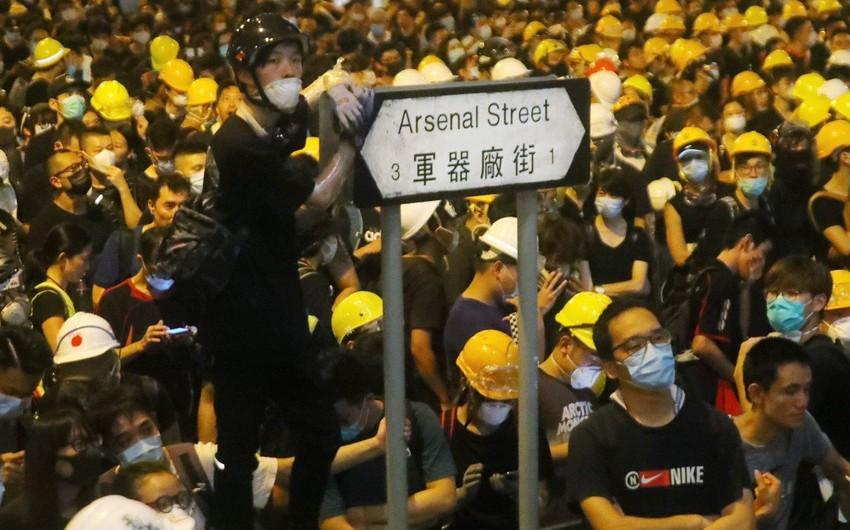 В Гонконге проходит очередной несанкционированный митинг