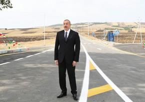 Президент Ильхам Алиев принял участие в открытии автодороги в Исмаиллы