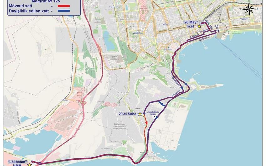 Bakıda jurnalistlərə görə 125 saylı marşrutun hərəkət sxemi dəyişdirilib