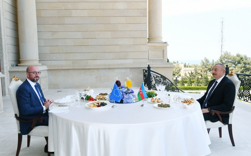 President Ilham Aliyev, President of European Council Charles Michel have joint working dinner