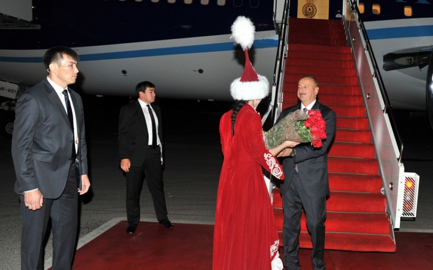 President Ilham Aliyev arrives in Astana for a working visit