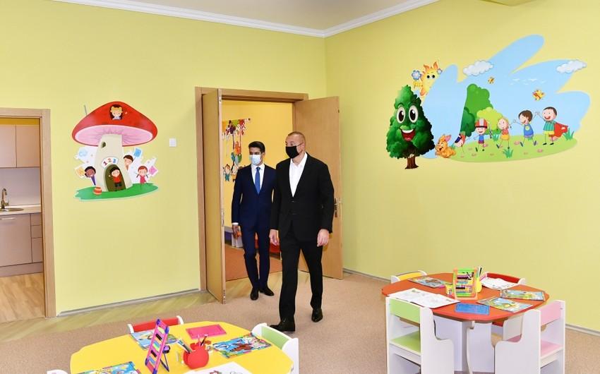 President Ilham Aliyev inaugurates 200-seat orphanage-kindergarten in Naftalan city