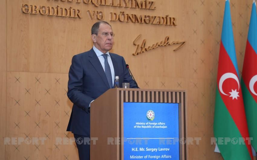 """Lavrov: """"Bölgədəki vəziyyəti normallaşdırmaq üçün razılaşmaları tam həyata keçirmək vacibdir"""""""