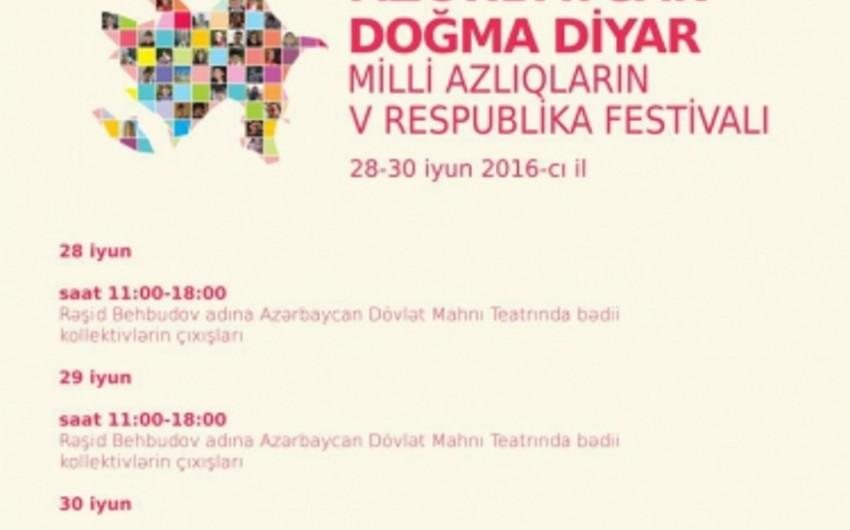 Bakıda Milli Azlıqların V Respublika Festivalı keçiriləcək