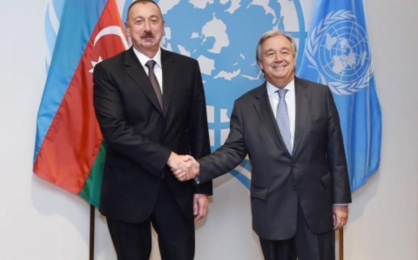 Azərbaycan Prezidenti Nyu-Yokda BMT-nin baş katibi ilə görüşüb