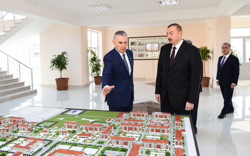 President Ilham Aliyev views new residential complex for IDPs in Tartar district