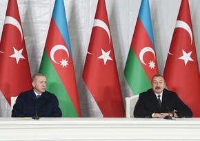 Ильхам Алиев Эрдогану: В Азербайджане все любят Вас, относятся с большим уважением