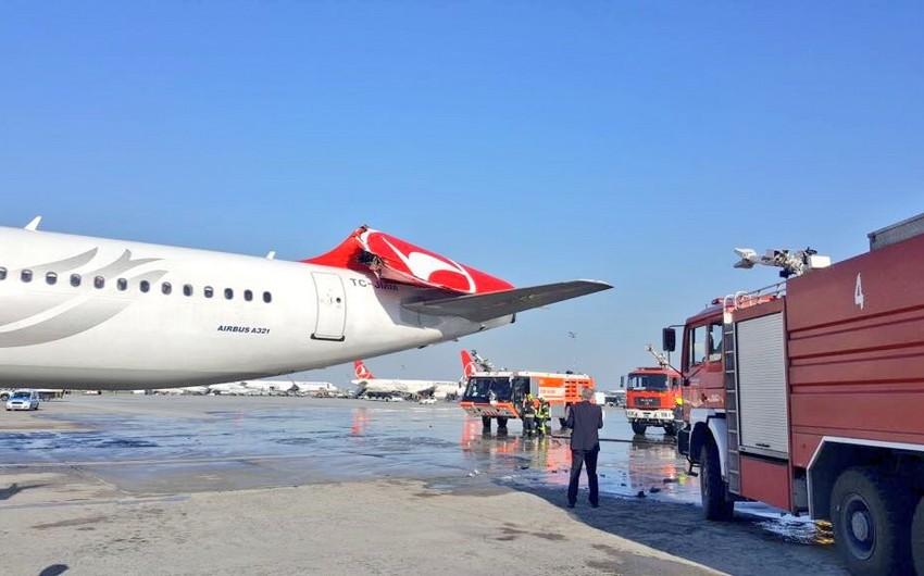 İstanbul aeroportunda iki təyyarə toqquşub - VİDEO