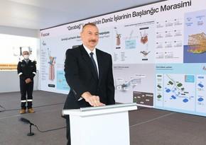 Ильхам Алиев принял участие в церемонии отправки в море опорного блока месторождения Карабах