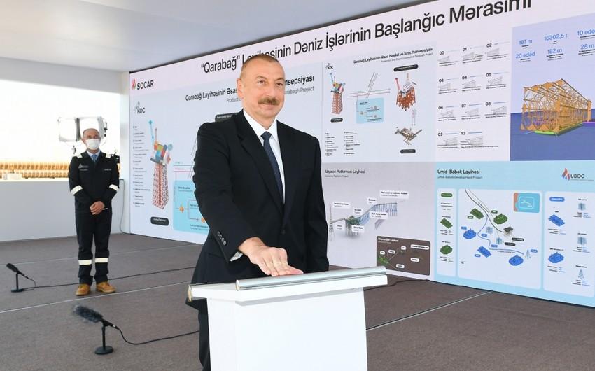 """Prezident: """"Qarabağ yatağı müstəqil Azərbaycan üçün böyük hədiyyə olmuşdur"""