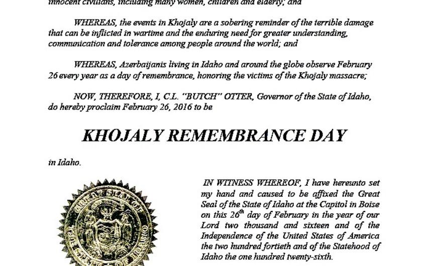 U.S. State of Idaho proclaims  'Khojaly Remembrance Day'