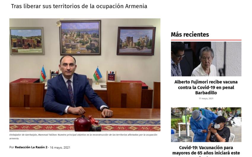 Peru mətbuatı: Azərbaycan köçkünlərin geri qayıdışı üçün səylərini artırır
