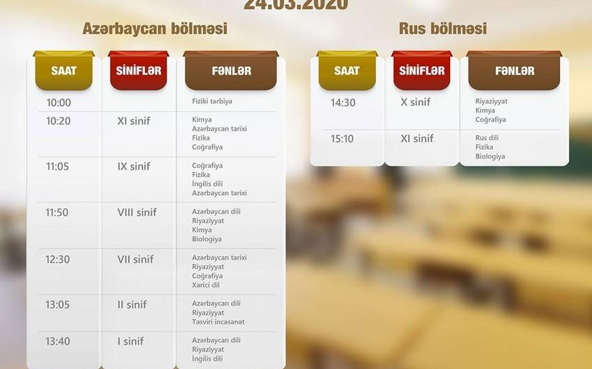Teledərslərin martın 24-nə olan cədvəli açıqlandı - QRAFİK