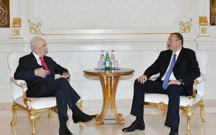 Prezident İlham Əliyev İsrailin sabiq dövlət başçısı Şimon Peresi qəbul edib