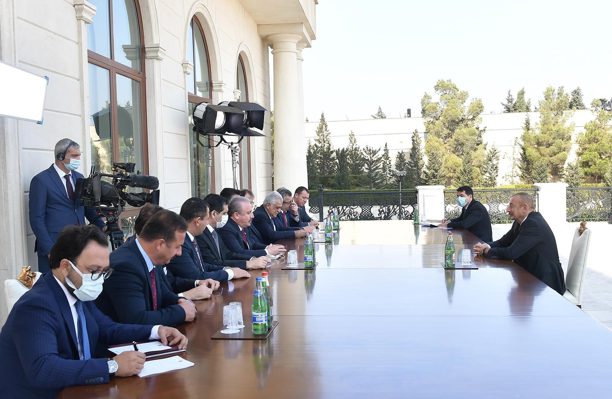 Azərbaycan Prezidenti Türkiyə parlamentinin Sədrini qəbul edib - FOTO