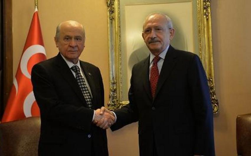 Türkiyə parlamentində təmsil olunan əsas müxalifət partiyalarının liderləri görüşüb