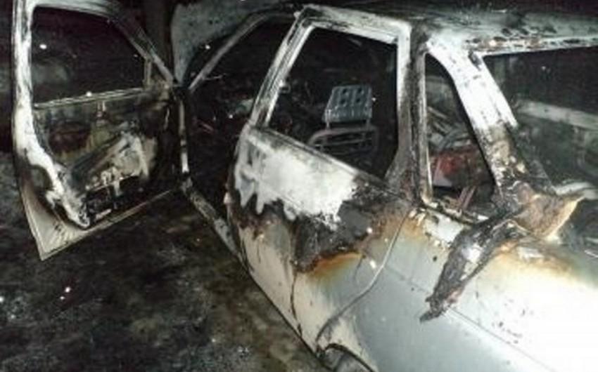 Goranboyda minik avtomobili yanıb