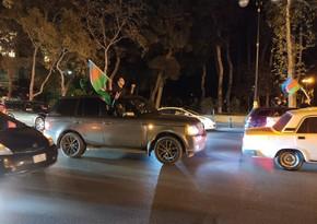 Baku residents celebrate victory