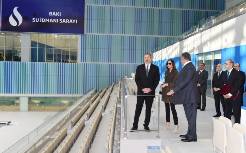 Prezident İlham Əliyev Bakı Su İdmanı Sarayının açılışını edib