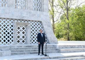 Президент Ильхам Алиев и первая леди Мехрибан Алиева приняли участие в открытии Дней поэзии Вагифа в Шуше