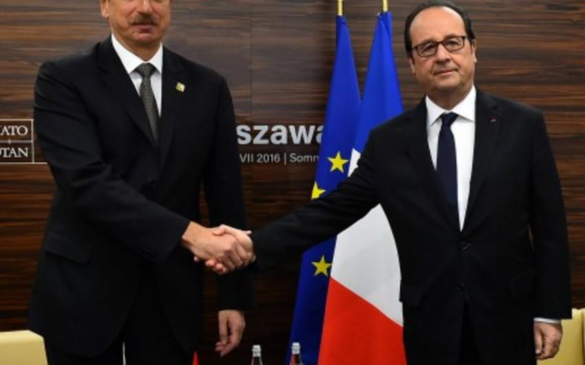Prezident İlham Əliyev Fransanın dövlət başçısı Fransua Ollandla görüşüb - FOTO