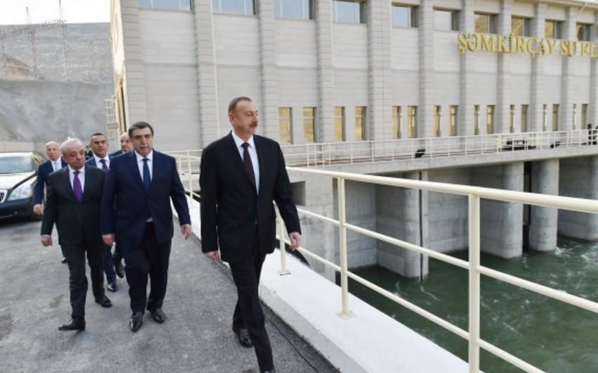 Azərbaycan Prezidenti Şəmkirçay su anbarının açılış mərasimində iştirak edib