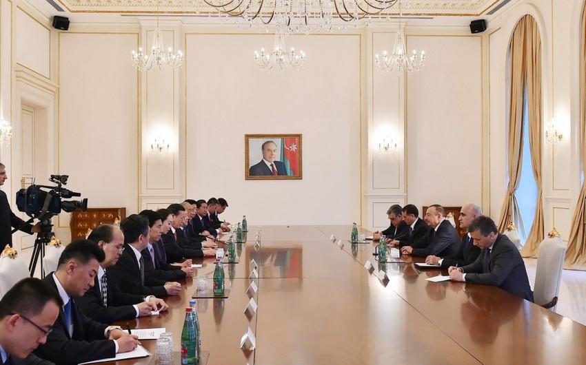 İlham Əliyev Çinin Dövlət Şurası sədrinin birinci müavinini qəbul edib